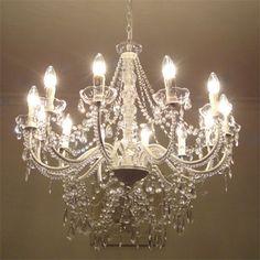 LANDHAUS-grosser-Kronleuchter-weiss-Kristalle-Luester-12-armig-H70cm-Deckenlampe