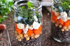 Several Salad in Mason Jar recipes using lentils and quinoa and the one below......  Black Bean-Napa Cabbage-Corn-Tomato  Cooked Black Beans  Thinly Sliced Napa Cabbage  Cooked fresh or frozen Corn  Chopped Roma Tomatoes  Chopped Cilantro  Zucchini-Lime Dressing (recipe in Nourishing Meals)