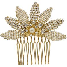 Miriam Haskell Pearl and Crystal Comb (€440) ❤ liked on Polyvore featuring accessories, hair accessories, comb, hair, pearl hair accessories, crystal hair accessories, hair comb accessories, crystal hair comb and pearl hair comb