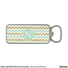 Mint and Gold Chevron Faux Glitter Monogram Magnetic Bottle Opener