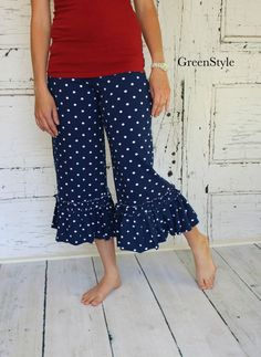 Nautical Navy and white Polka dot Willow Ruffle by Gogreenstyle, $60.00