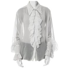 Vintage Beige See Through Blouse Poet Sleeve Jabot Ruffle Blouse Mesh Shirt Sheer Blouse Lolita Blouse Ruffle Shirt Medium Shirt