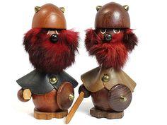 Original vintage Danish Modern wood figurine pair Vikings, dated 1960s.