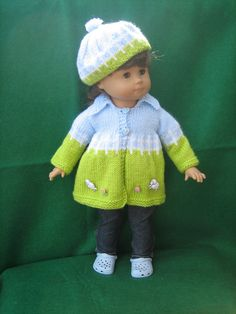 perugina17's Spring Lambs: 1) http://www.ravelry.com/patterns/library/spring-flared-sweater-for-american-girl-dolls 2) http://www.ravelry.com/projects/perugina17/spring-flared-sweater-for-american-girl-dolls-2