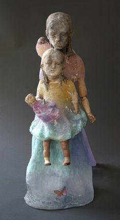 "Habatat Galleries, Christina Bothwell, ""Gravity"" 2013, 26 x 12 x 14"" Cast glass, pit fired clay, found objects, oil paints, SOLD"
