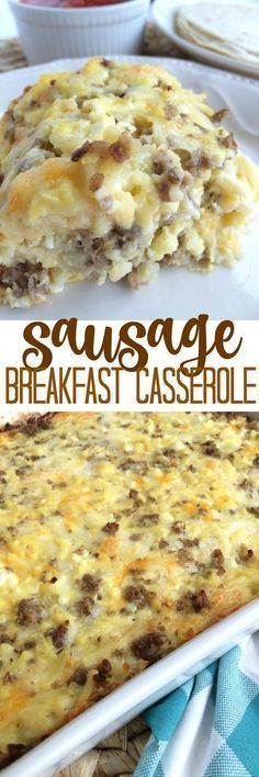 Sausage Breakfast Casserole All your breakfast favorites baked up in one easy casserole! This sausage breakfast casserole has eggs, hash browns, crumbled sausage, and 3 types of cheese. Serve as is or serve with warm tortillas and salsa. Breakfast Dishes, Best Breakfast, Breakfast Recipes, Breakfast Ideas, Southern Breakfast, Brunch Dishes, Vegetarian Breakfast, Breakfast Cake, Morning Breakfast