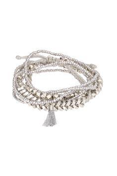 Lot de 4 bracelets perles pompon Vanka Argent Pieces sur MonShowroom.com