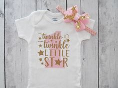 Twinkle Twinkle Little Star First Birthday Onesie in pink and
