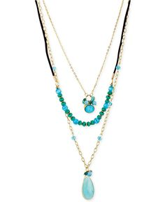 Haskell Gold-Tone Three-Row Turquoise Necklace