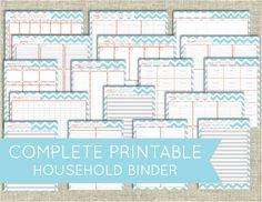 Complete Chevron Household / Family Binder Printable Set -PDF