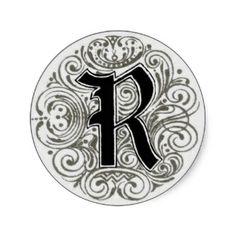Vintage Monogram R Sticker Designs