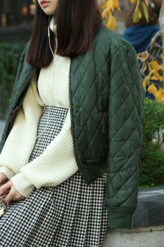 quilted bomber, waffle knit sweater, black white skirt, japanese, chinese, asian, cute school girl style