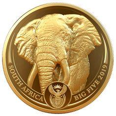 Power Coin Elephant Elefante Big Five 1 Oz Moneda Oro 50 Rand South Africa 2019 1 Oz Gold Coin, Silver Coins, Gold Coin Wallpaper, Gold Bullion Bars, Coin Store, Coin Worth, Coin Collecting, Precious Metals, Elephant