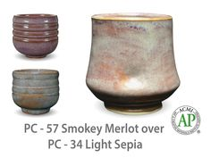 AMACO Potter's Choice layered glazes PC-34 Light Sepia and PC-57 Smokey Merlot.