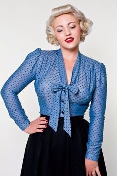 1950s Rockabilly & Pinup Tops, Shirts, Blouses Elsa Blouse - Chambray Swiss Dot Blue AT vintagedancer.com