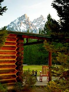 Jenny Lake Lodge, Grand Teton National Park.  A row of cabins overlooking Jenny Lake and the Grand Tetons.  Expensive and worth it!  Not to be missed.
