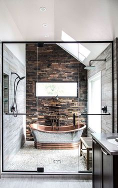 Fabulous freestanding metal bathtub. Modern rustic.