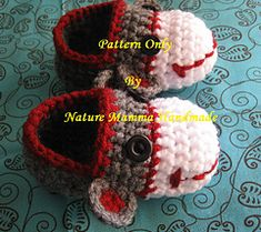Classic Sock Monkey Booties PATTERN ONLY by Nature Mamma Handmade by Gabriela Mullen  $4.99