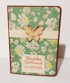 Geburtstagskarte Schmetterling  von POMMPLA auf DaWanda.com