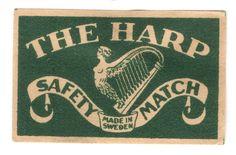Old Matchbox Label Box Size Sweden The Harp | eBay
