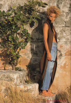 "Elle France March 11th, 1991 ""Le jean libertin"" Models: Emma Sjöberg & Unknown Photographer: Marc Hispard Stylist: Carine Roitfeld Hair: Guillaume"