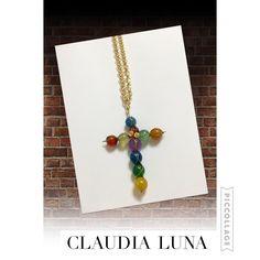 Collar largo coleccion cruces ágata. Diseño mexicano hecho a mano con piedras ágata y alambrismo. Artesania mexicana