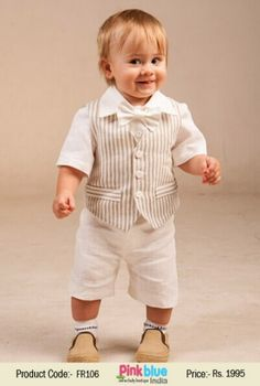 33dcbf3b3906 Buy Beige Striped Waistcoat with White Shirt and Short Clothing Suit for  Kids