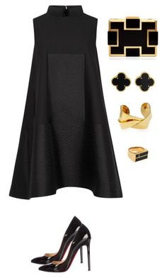 black and gold featuring Alexander McQueen, Sondra Roberts, Devon Leigh, Van Cleef & Arpels, Christian Louboutin and Aurélie Bidermann Fashion Mode, Look Fashion, Womens Fashion, Feminine Fashion, Fashion News, High Fashion, Classy Outfits, Chic Outfits, Summer Outfits