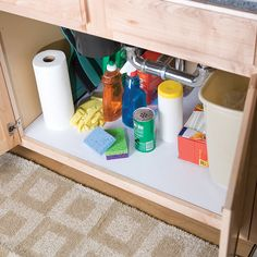 Easy Liner under the sink helps protect surfaces from unwanted spills and is easy to clean. http://duckbrand.com/products/shelf-liner-bath/non-adhesive-shelf-liner/solid-grip/white-12-in-x-7-ft?utm_campaign=shelf-liner-general&utm_medium=social&utm_source=pinterest.com&utm_content=shelf-liner-laminate