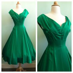 Hey, I found this really awesome Etsy listing at https://www.etsy.com/listing/163509543/emerald-green-satin-1950s-vintage-party