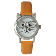 Olivia Pratt Cat in Glasses Watch ($25) ❤ liked on Polyvore featuring jewelry, watches, orange, bezel watches, leather band bracelet, bracelet watches, cat bracelet and colorful watches