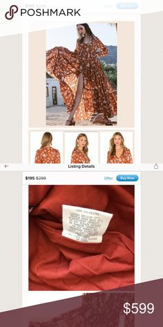 Please educate yourselves! Please please please do some research before paying high prices for non-authentic Spell. There are many out there, and several on posh. Don't fall for the scams and have to deal with the annoyance of opening a case. You deserve the real thing for these prices.  The real Gypsy Dancer dress directly from Spell is 100% Viscose. They do not create garments out of polyester.   Also note that the size printed on the small tag will always be in a handwritten font - never…