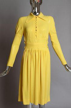 1970's Ossie Clark for Radley Yellow Moss Crepe Dress. Stunning!