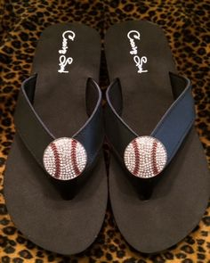 8e695b1f7a8c Cocomo Soul Black Leather Rhinestone Baseball Flip Flops