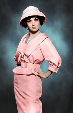 Gina, 1960s pink dress suit belt hat skirt jacket color photo print ad model magazine movie star