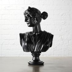 Shop Judy Female Bust Statue. We may have gotten the idea from way, (way) back in the day, but we'll take credit for making it cool again. Sleek black resin finished modern matte black, except from the eyes up, which we made shiny—just because. A fun wink in the office or mantle.