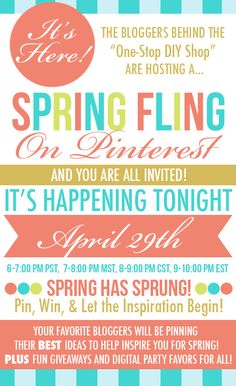 Spring Fling Pinterest Party! Join us tonight for freebies, giveaways and fun!