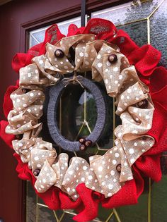 "Gray O & Polka Dot Burlap Ohio State Wreath 22"""