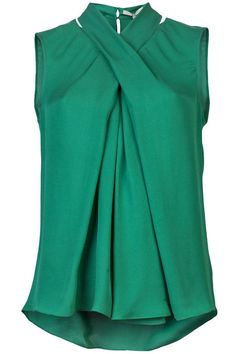 Green sleeveless criss cross top, Halston Heritage