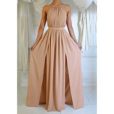 Nude M-Slit Halter Dress Lookbook Store (66 BAM) ❤ liked on Polyvore featuring dresses, slit dress, beige dress, halter dress, halter neck dress and halterneck dress