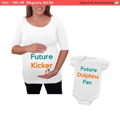 """Spring Sale 10% Discount Ends April 15th Maternity Shirt and baby set """" Future Kicker""""  """" Future Dolphins Fan"""" Pregna... by DJammarMaternity on Etsy"""