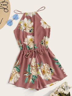 Shop Split Back Drawstring Waist Floral Print Halter Romper at ROMWE, discover more fashion styles online.