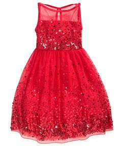 Crystal Doll Girls' Sequin Illusion Dress