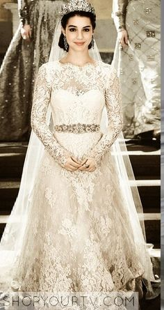 Don't watch Reign but this is one of the most gorgeous wedding outfits I've ever seen. Not the dress itself, but when combined with the belt and earrings and tiara.