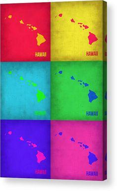 Hawaii Map Acrylic Print featuring the painting Hawaii Pop Art Map 1 by Naxart…
