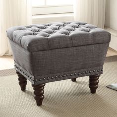 Hampton Linen Tufted Single Storage Bench