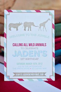 DIY Printable Invitation - Zoo/Safari Party. $15.00, via Etsy.