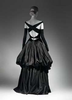 Charles James, Evening Dress, 1948, Black silk satin and black silk velvet.  Worn by ultra-chic Millicent Rogers.