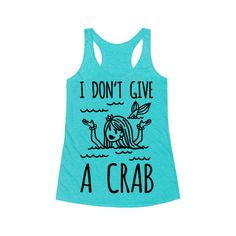 I Don't Give A Crab ($23) ❤ liked on Polyvore featuring tops, t-shirts, tee-shirt, t shirts, blue tee, blue shirt and blue top