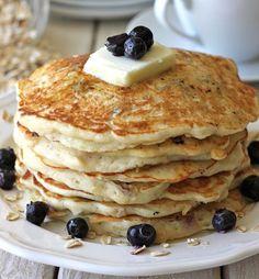 Blueberry Oatmeal Yogurt Pancakes   Easy Pancake Recipes   https://homemaderecipes.com/easy-pancake-recipes/